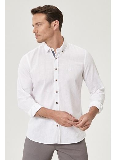 Beymen Business Slim Fit Keten Gömlek 4B2021200023 Beyaz